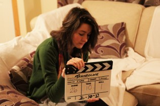 Actor Aoife Spratt on set.
